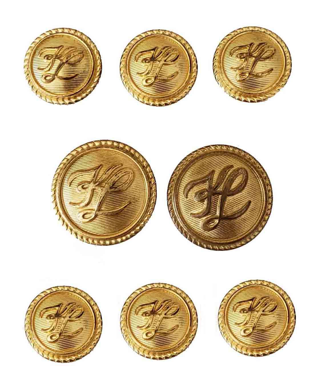 Vintage Karl Lagerfeld by Waterbury Blazer Buttons Set Gold Brass Shank KL Monogram Men's