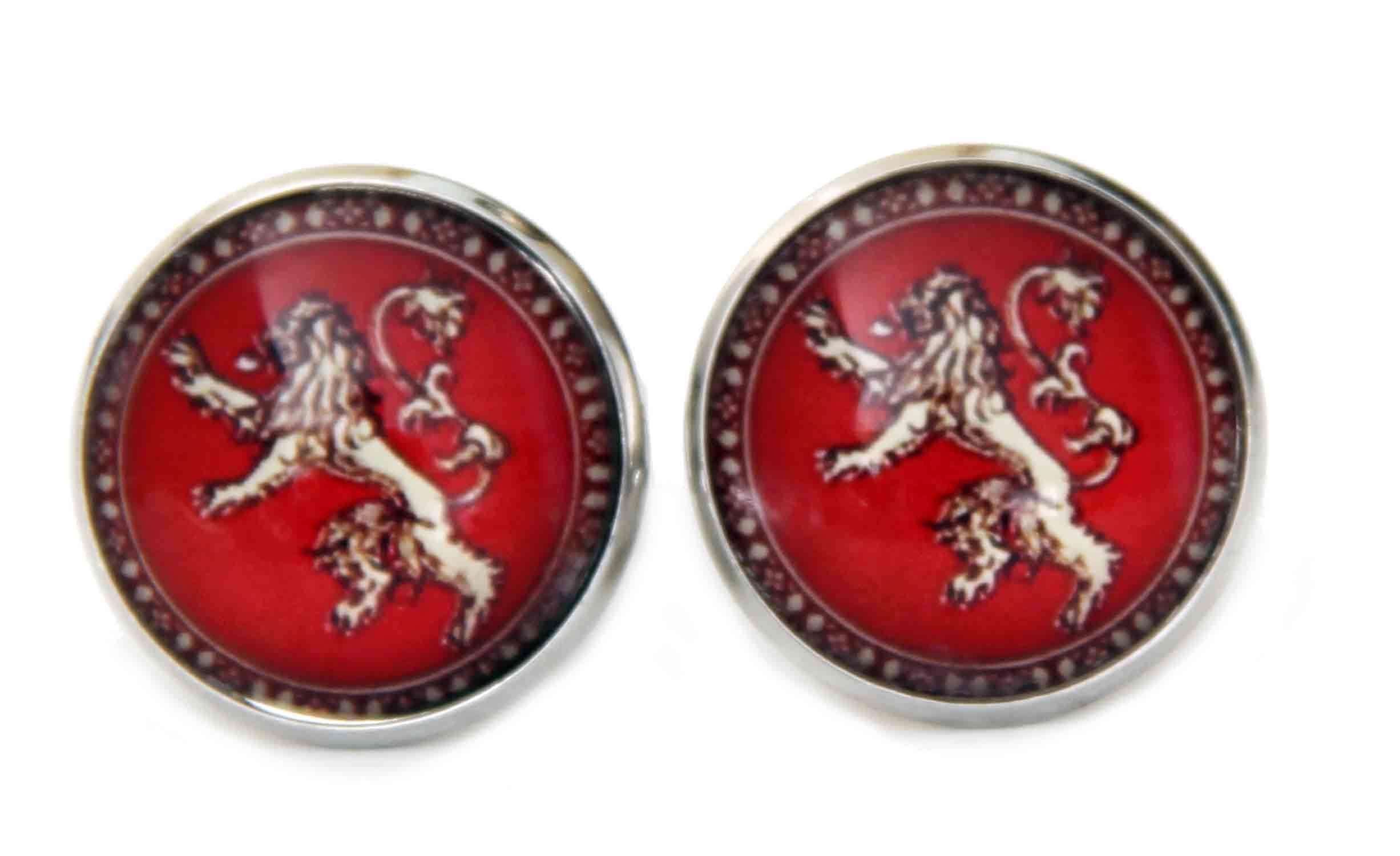 Gascoigne Cufflinks Heraldic Lion Metal Alloy Silver Red Men's