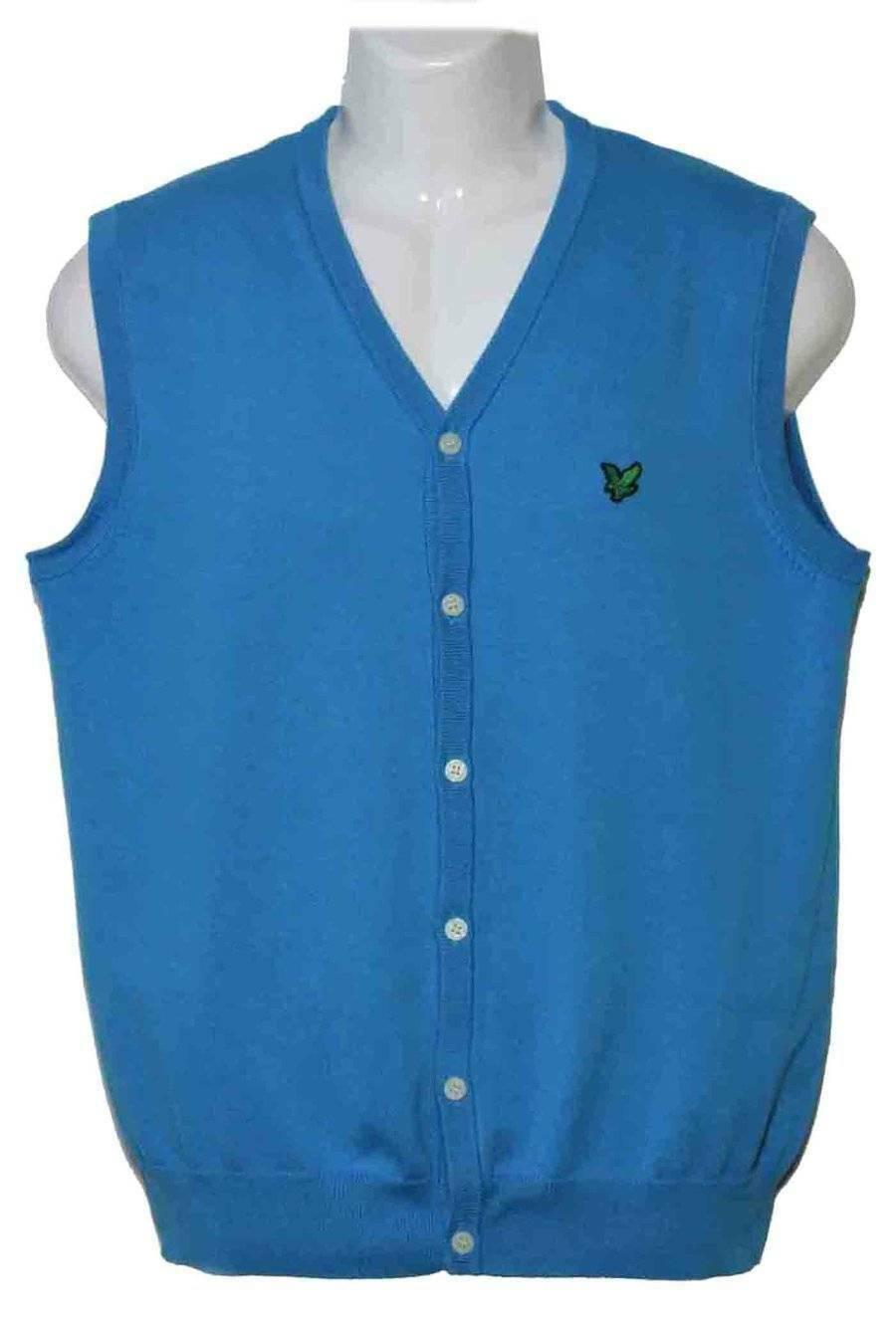 Lyle & Scott of Scotland Cotton Sweater Vest Blue Turquoise Men's Size Slim Medium