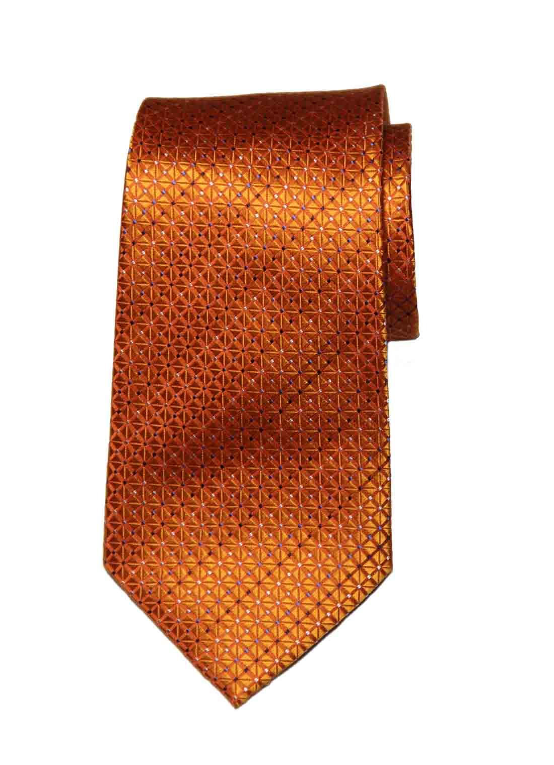 Michel Rene Silk Tie Orange Geometric Polka Dots Men's
