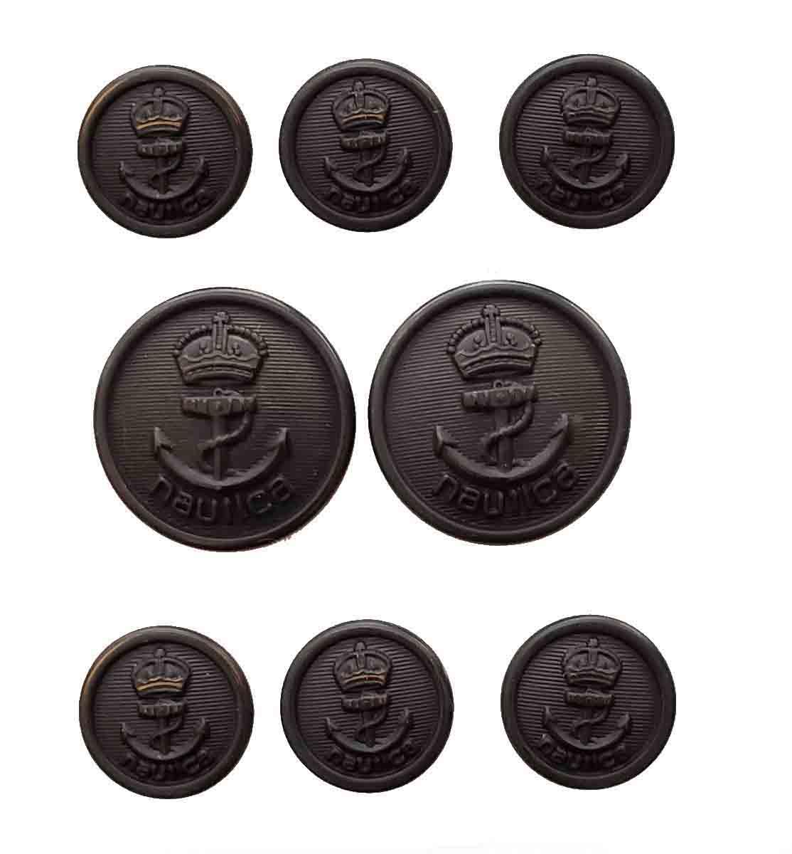 Vintage Nautica by Waterbury Blazer Buttons Set Gray Gold Crown Anchor Men's