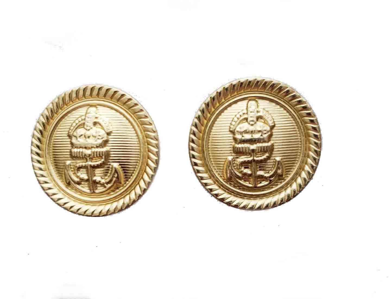 Two Men's Zara Nautical Blazer Jacket Buttons Gold Brass Shank Crown Anchor Men's