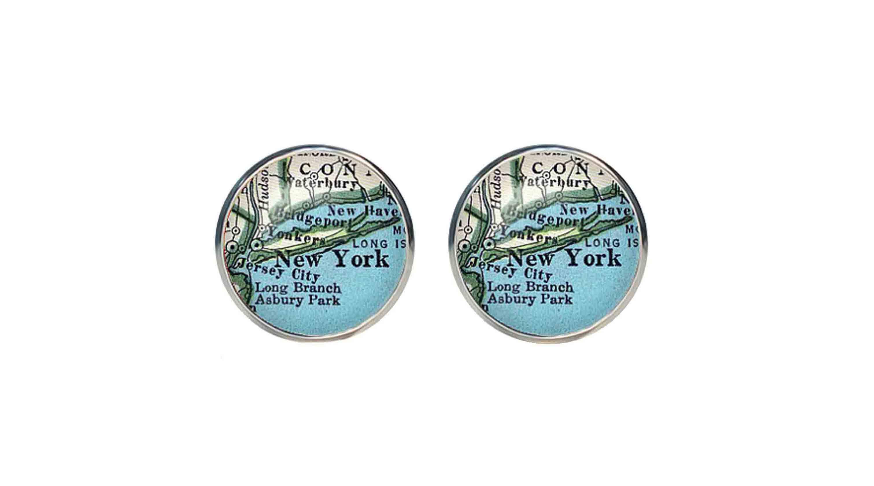 Old American New York City Map Cufflinks Silver Metal Alloy Men's