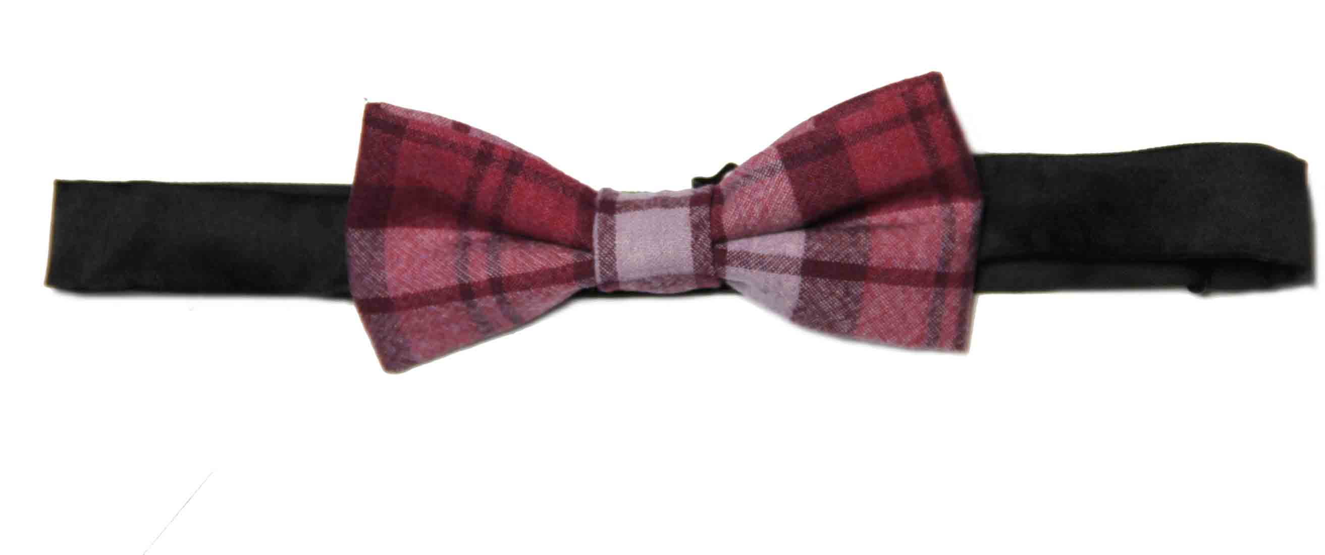 Noose & Monkey Bow Tie Cotton Plaid Red Purple Lavender Men's