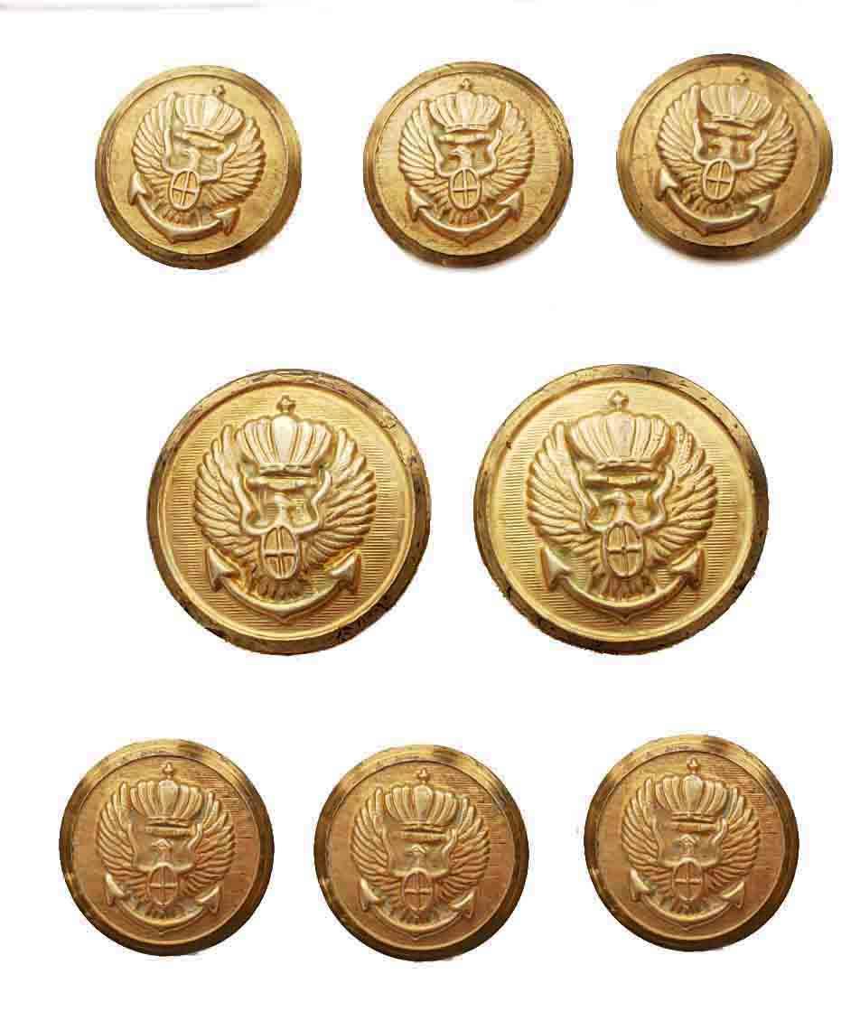 Vintage Palm Beach Blazer Buttons Set Gold Brass Eagle Anchor Crown Men's