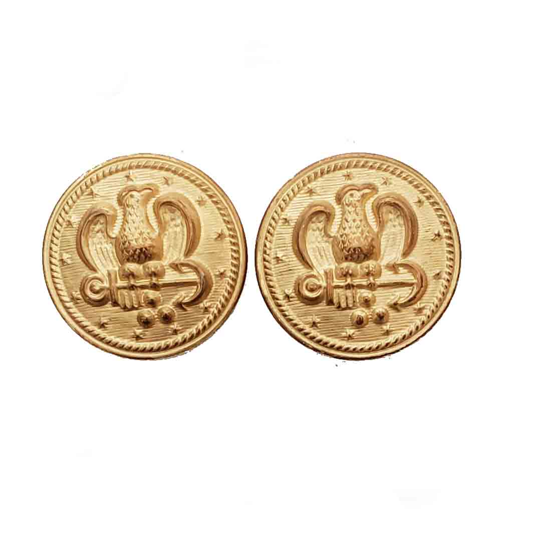 Two Vintage Waterbury Military Style Blazer Jacket Buttons Gold Brass Eagle Anchor Stars Patriotic Men's
