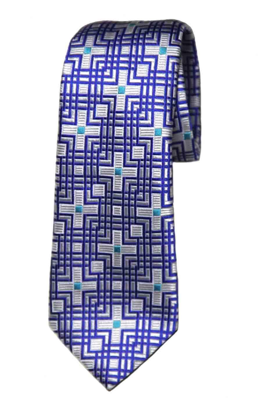 Penrose English Silk Tie Navy Blue Teal White Geometric Charing B Men's
