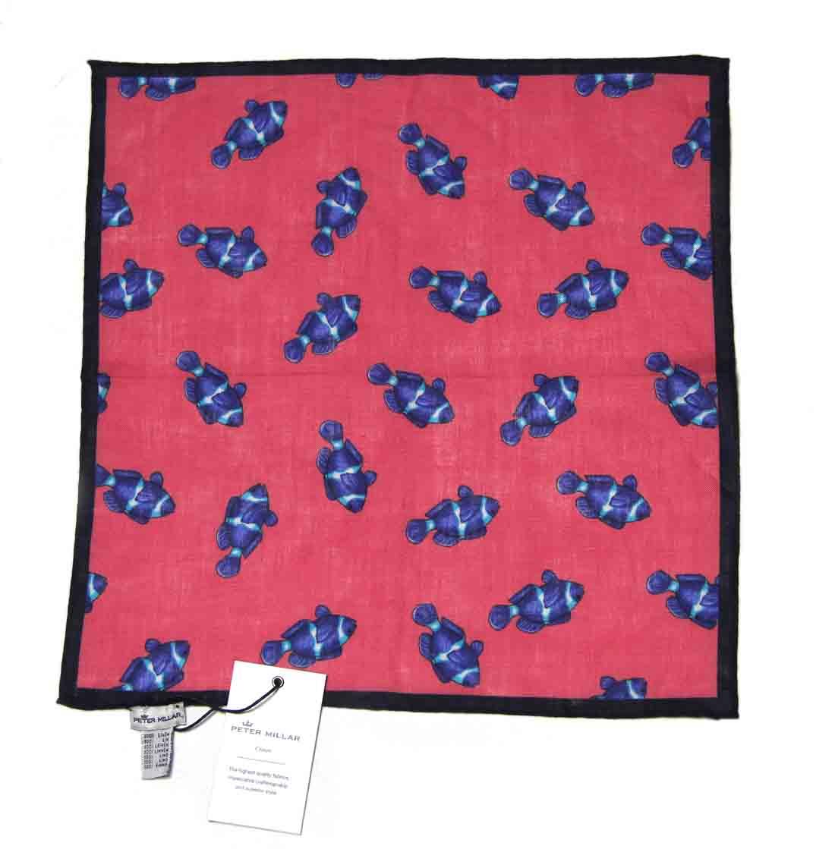 Peter Millar Italian Linen Pocket Square Fish Pattern Men's