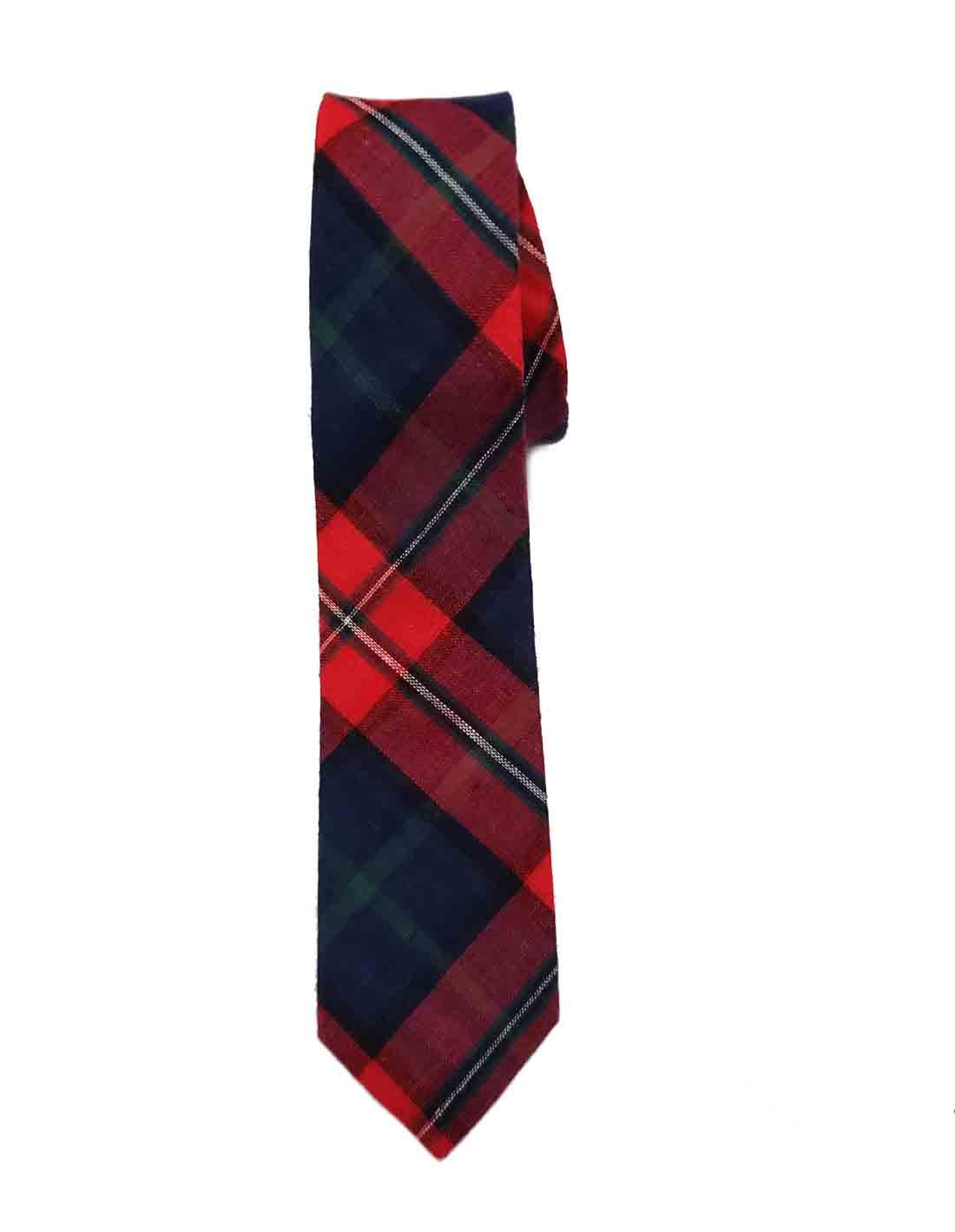 Skinny Tartan Plaid Tie Cotton Red Green Blue Black Men's