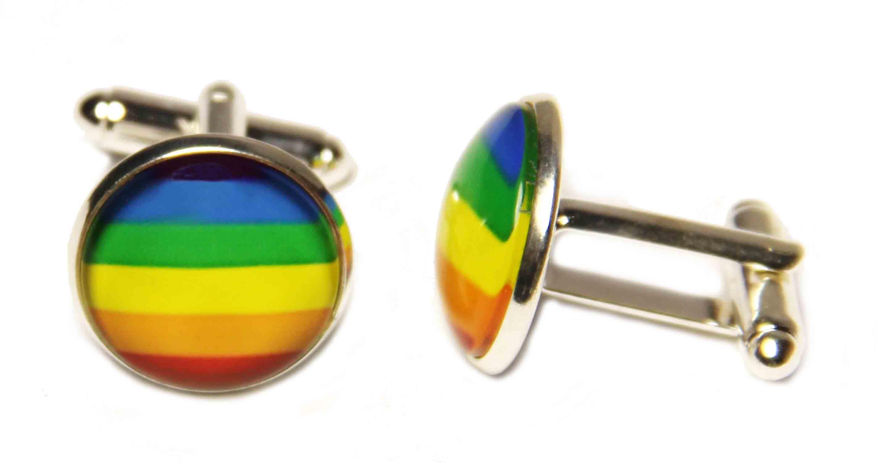 Rainbow Flag Cufflinks Silver Metal Alloy LGBT Gay Pride Men's