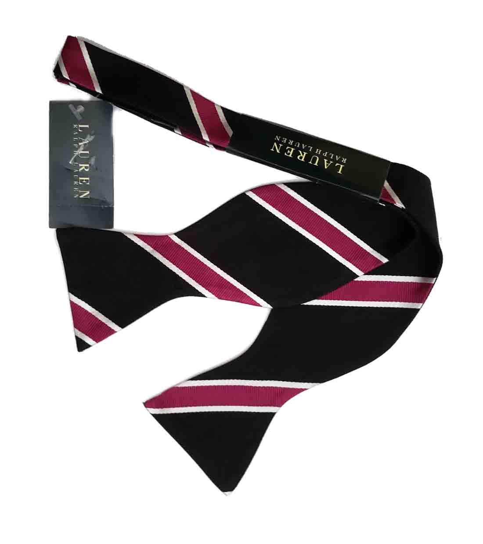 Ralph Lauren Silk Bow Tie Black White Purple Men's OS