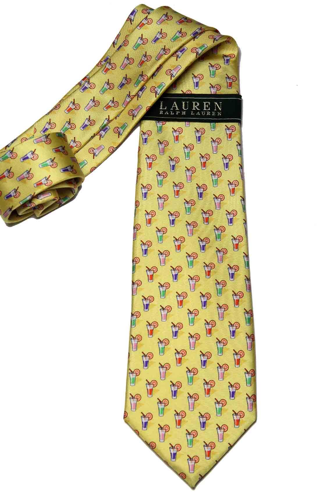 Ralph Lauren Silk Tie Cocktails Pattern Yellow Men's
