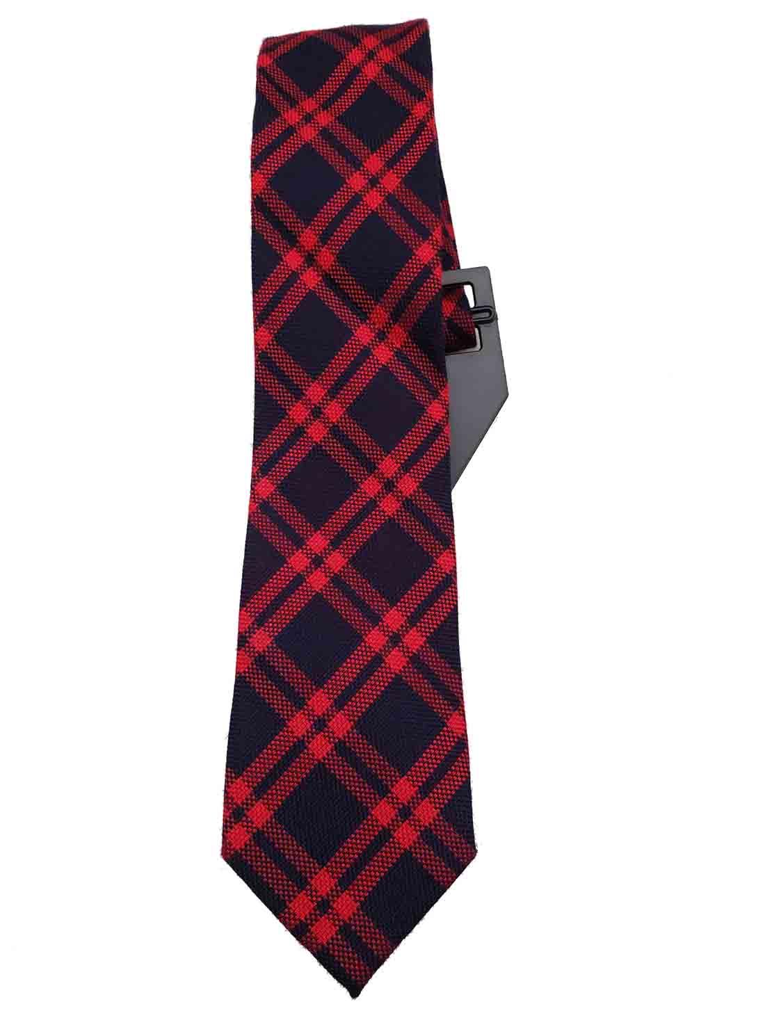 Narrow Red Navy Blue Plaid Tie Cotton Blend Men's Long Cedar Wood State