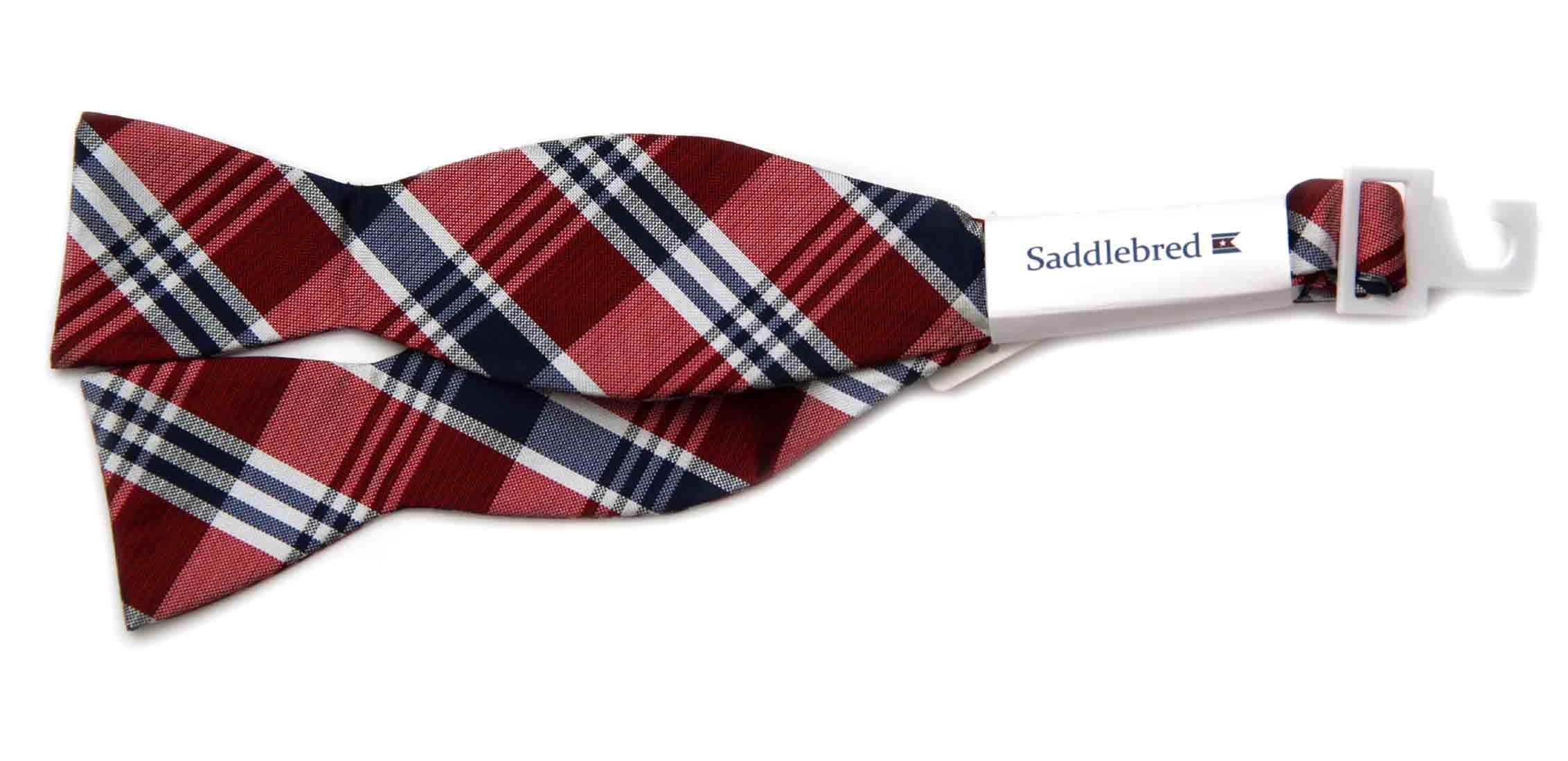 Saddlebred Silk Bow Tie Navy Blue Red White Gray Plaid Men's