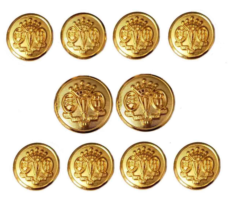 Vintage Southwick by Waterbury Blazer Buttons Set Gold Brass Shank Crown Pattern Men's
