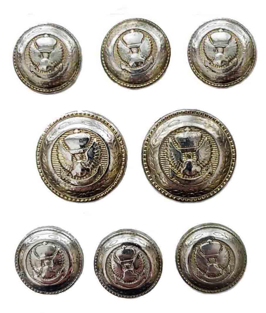 Vintage Stanley Blacker Blazer Buttons Set Silver Gold Eagle Anchor Crown Men's