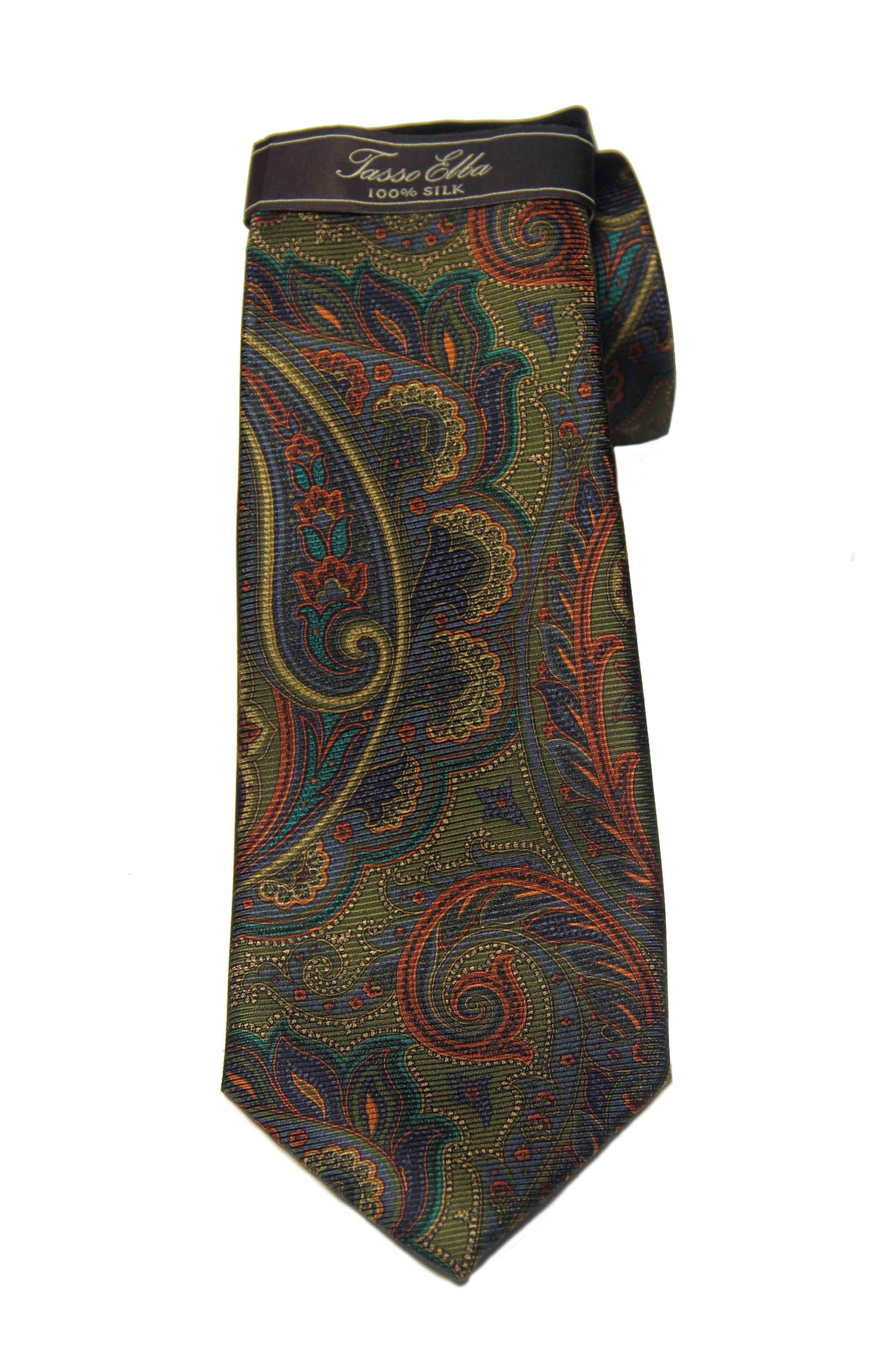 Tasso Elba Anseimi Paisley Tie Silk Olive Men's
