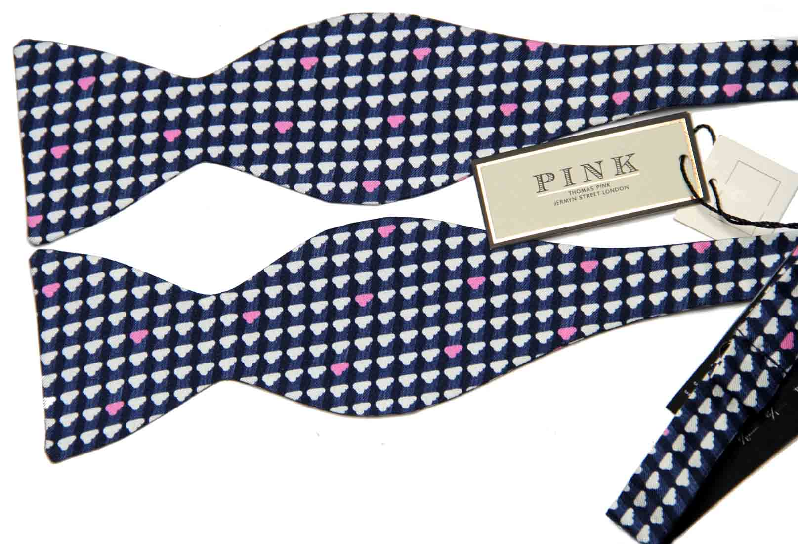 Thomas Pink Italian Silk Bow Tie Navy Blue Pink White Clouds Pattern Men's