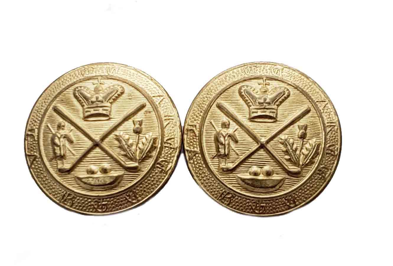 Two Vintage Club Room Royal Blackheath Blazer Buttons Golf Gold Brass Shank Men's 7/8