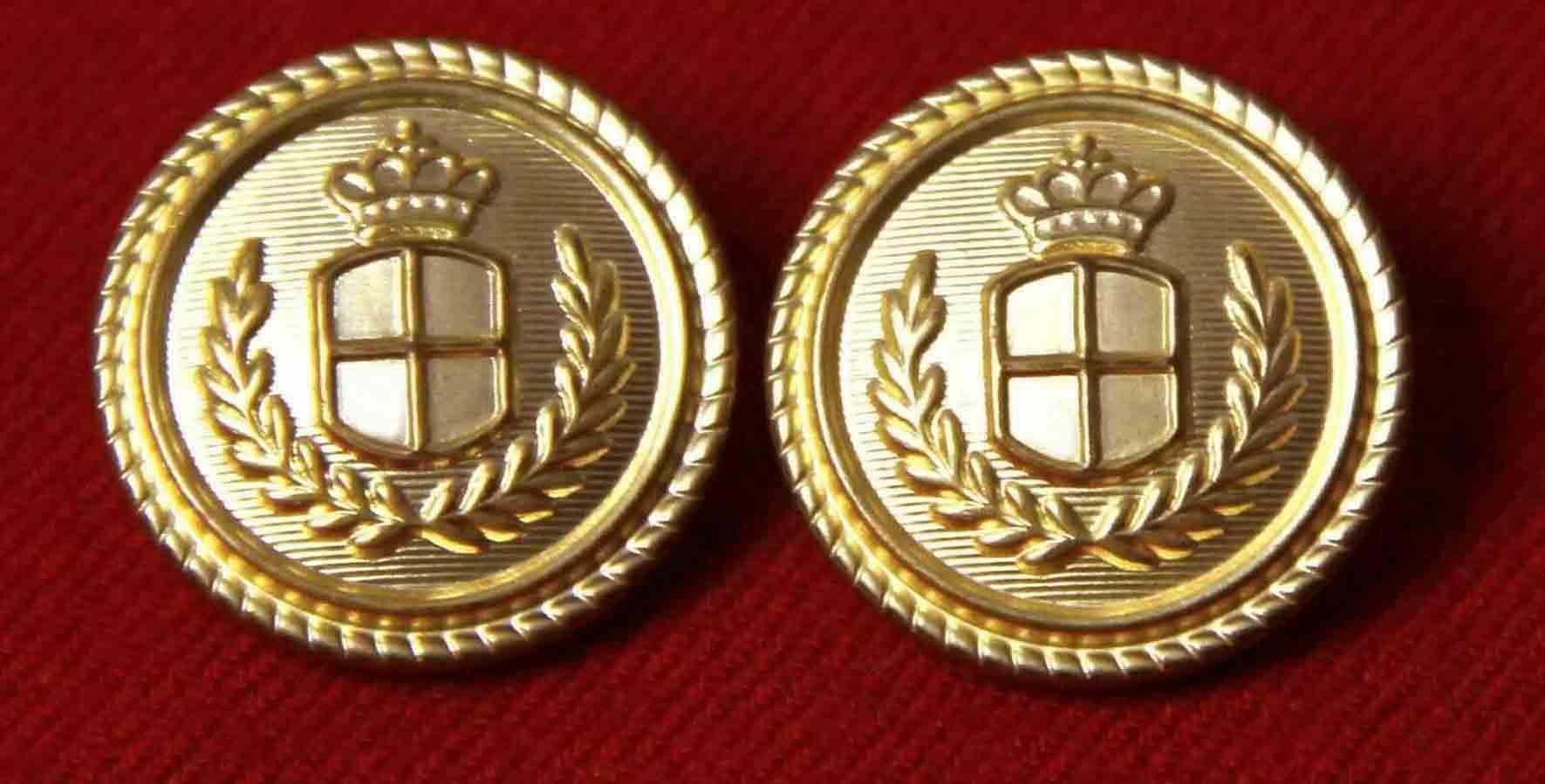 Two Vintage Waterbury Blazer Buttons Gold Brass Shank Crown Shield Laurel Men's 7/8