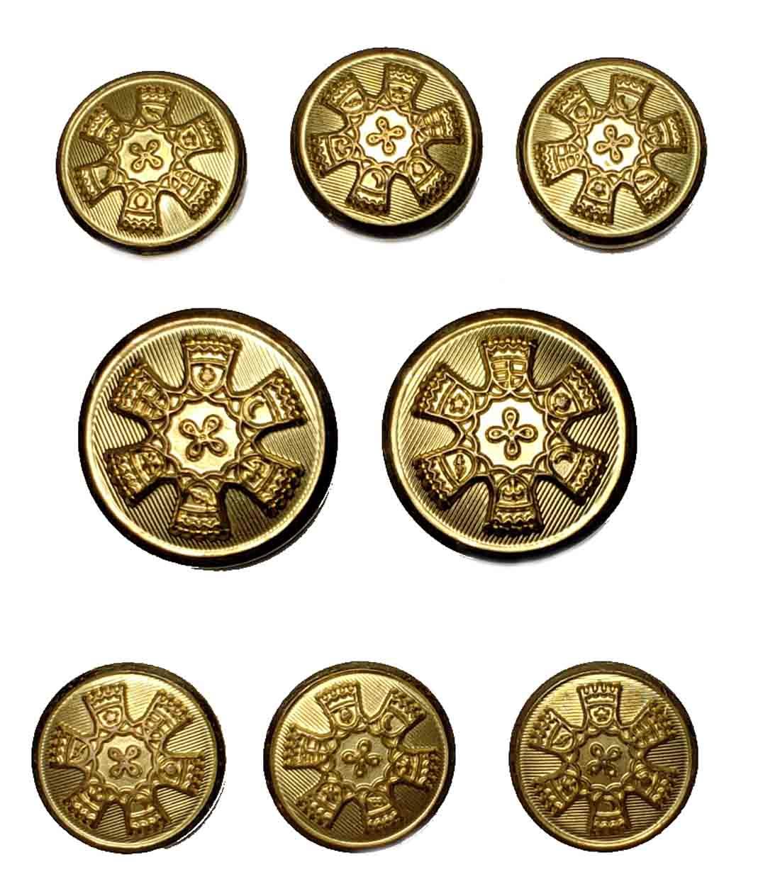 Vintage Waterbury Blazer Buttons Set Gold Shank Brass 1970s Men's