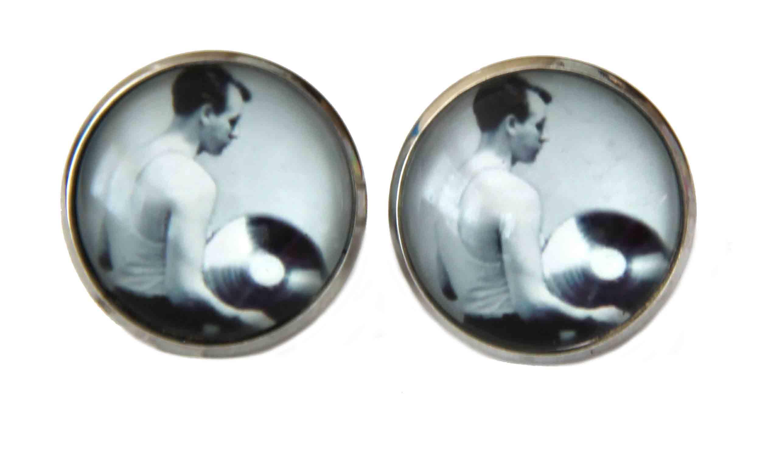 Gascoigne Cufflinks Repro Vintage Vinyl Records  Pattern Silver Black Gray Men'slack