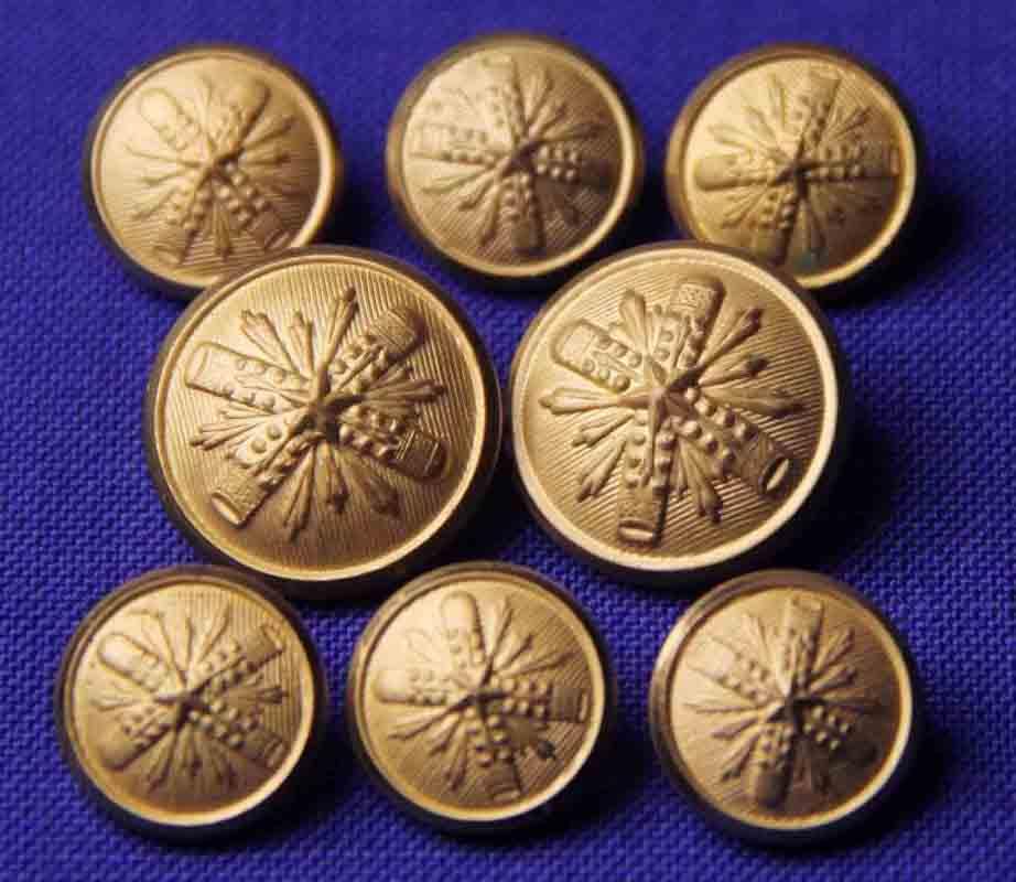 Vintage Waterbury Blazer Buttons Gold Brass Shank Starburst Men's