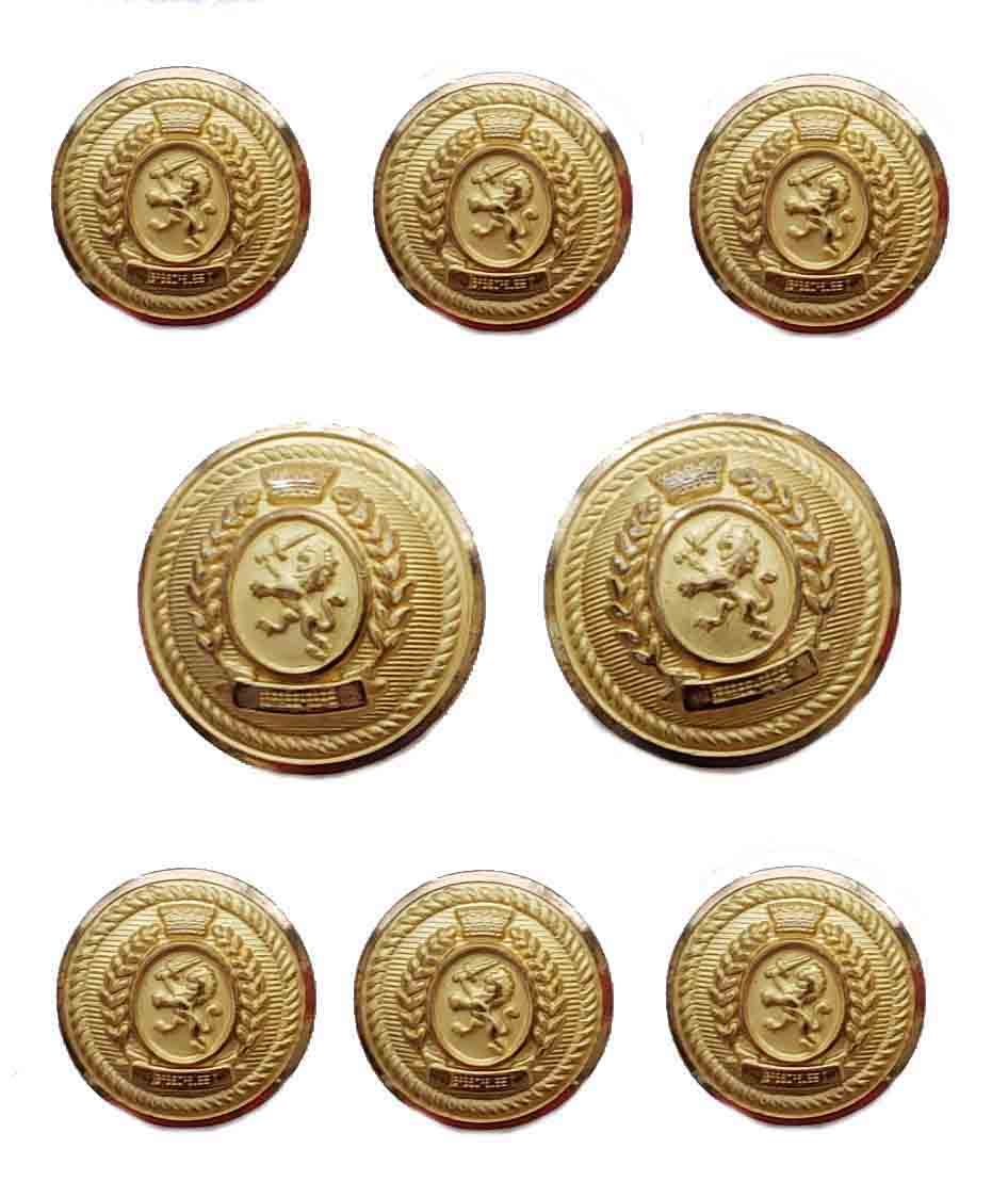 Vintage Waterbury Blazer Buttons Set Gold Brass Shank Lion and Sword Men's