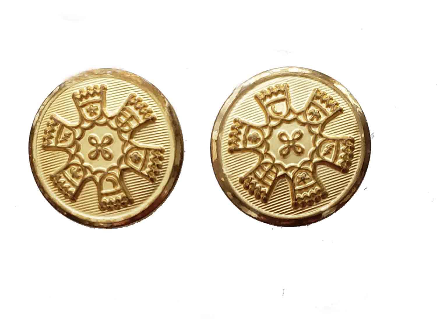 Two Vintage Waterbury Blazer Buttons Gold Shank Brass 1970s Men's