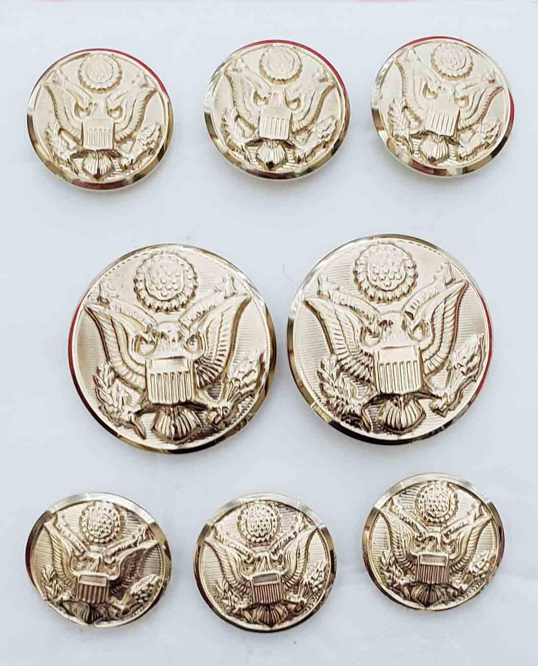 Waterbury Military Style Eagle Emblem Gold Brass Blazer Buttons Set Shank Men's