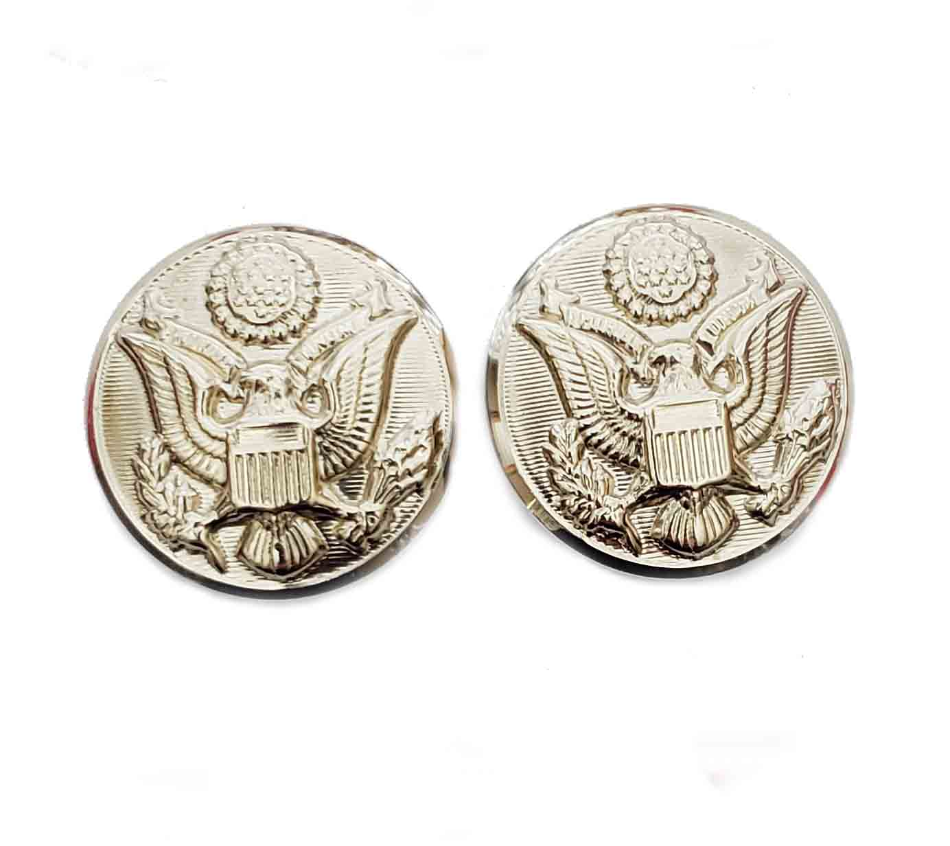 Two Waterbury Military Style Eagle Emblem Gold Brass Military Style Blazer Buttons Shank Men's