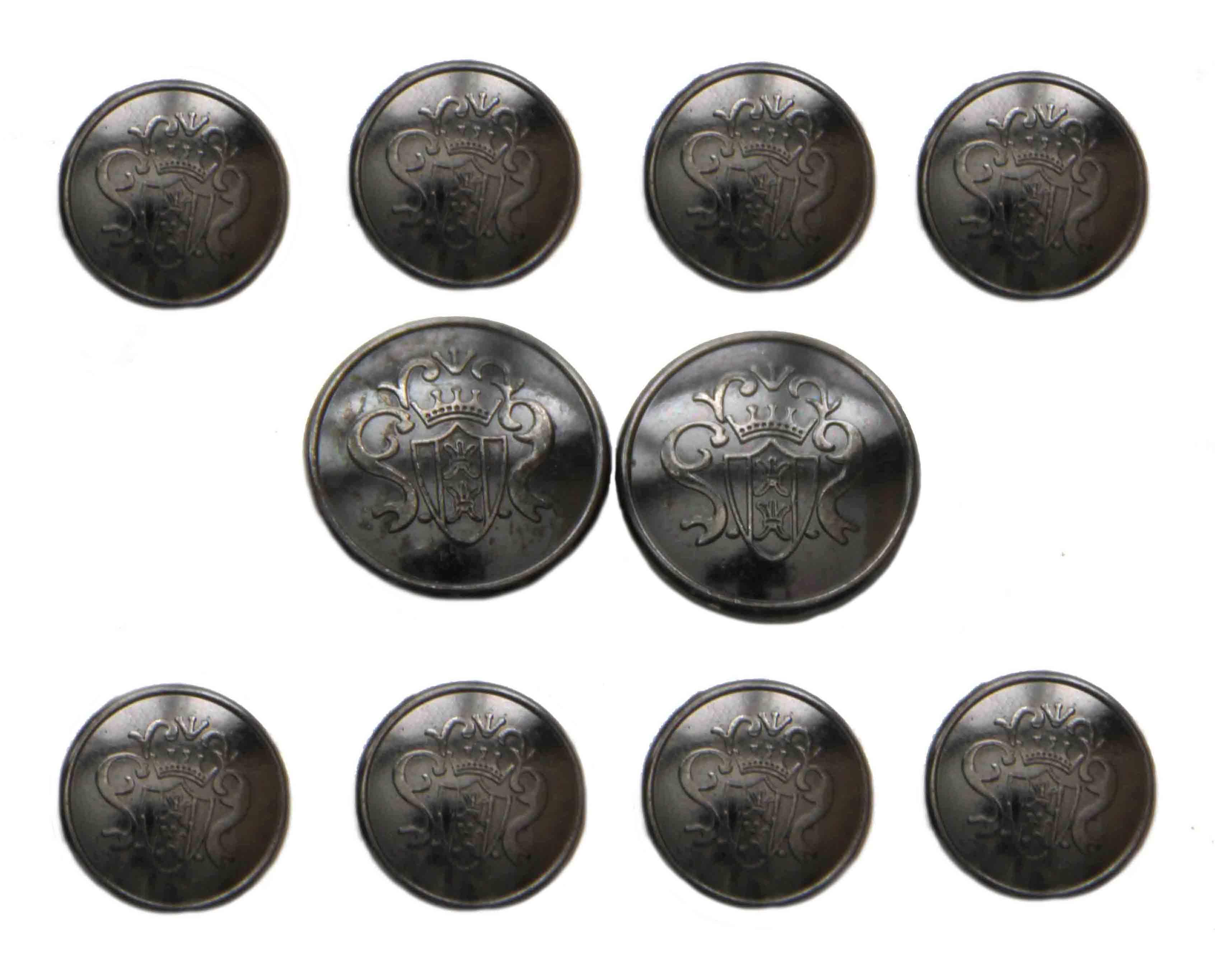 Zara Dome Blazer Buttons Set Gray Crown Shield Metal Shank Men's