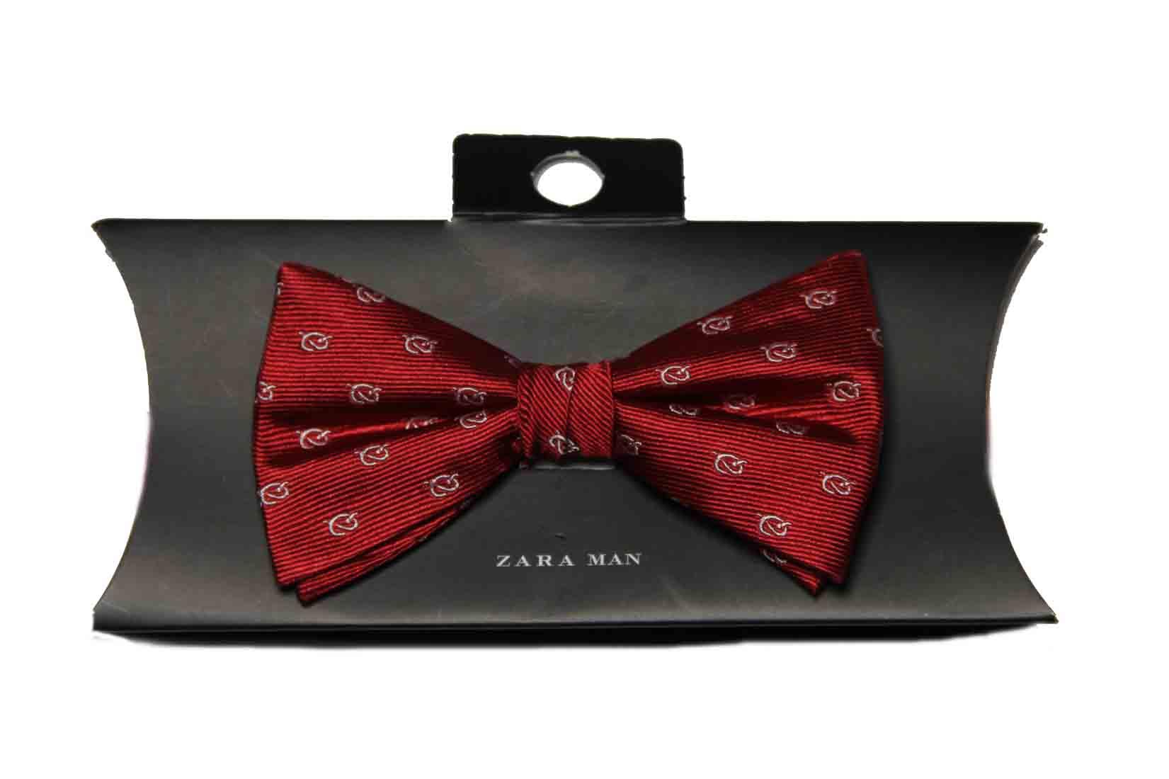 Zara Bow Tie Red White Silk Sailor's Knot Men's