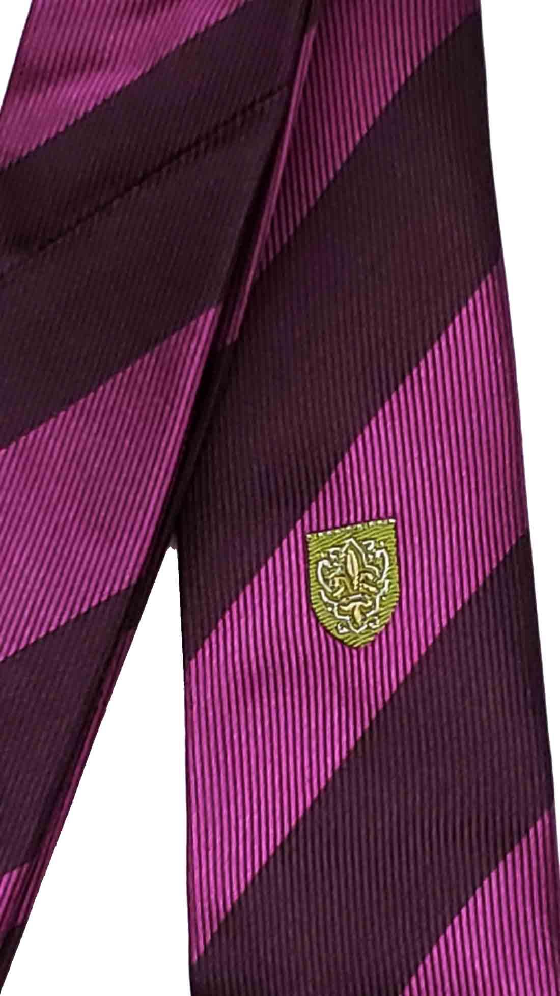 Zara Silk Tie Purple Brown Striped Green Gold Shield Emblem Men's Skinny