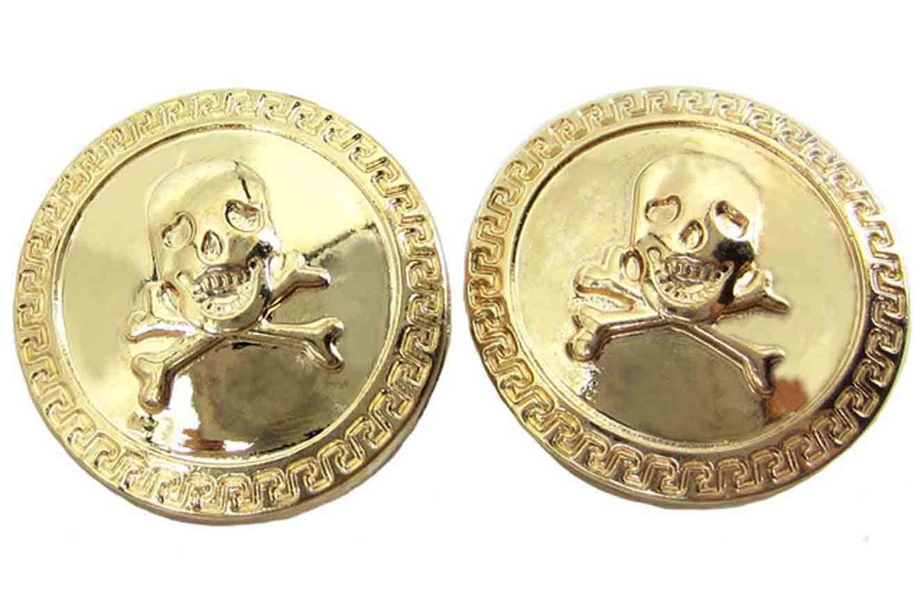 Gascoigne Skull Cross Bones Blazer Buttons Gold Shank Metal Men's