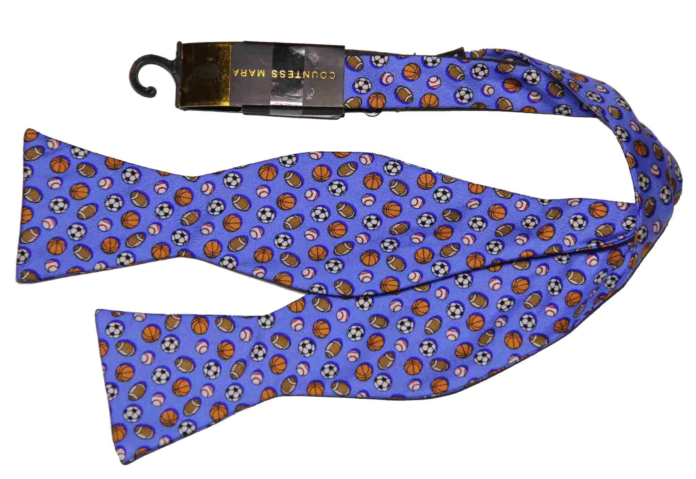 Countess Mara Bow Tie Multi-Sport Blue Silk Men's