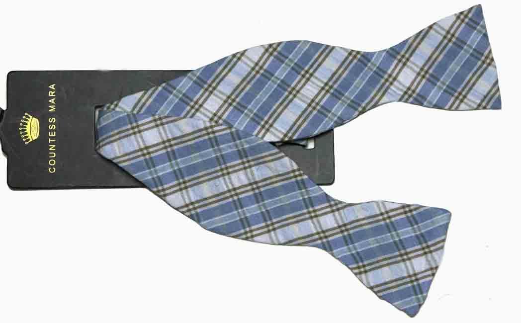 Countess Mara Cotton Bow Tie Plaid Blue Tan Brown White Men's
